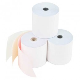 76mm 3 Ply Colour Kitchen Printer Roll in White / Pink / Yellow (Box of 20). AD37612WPY